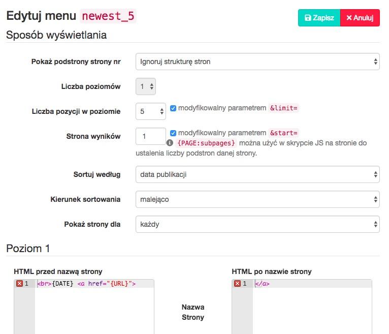 Twórz menu ignorujące strukturę stron